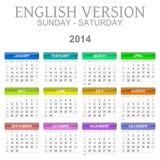 2014 calendar english version sun � sat Royalty Free Stock Image