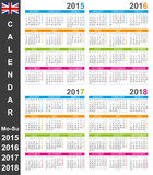 Calendar 2015-2018 Royalty Free Stock Photo