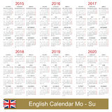 Calendar 2015-2020. English calendar 2015-2020, week starts on Monday Stock Illustration
