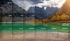 Calendar 2018 in English. Week starts on sunday. Mountains panorama landscape in Italy. Calendar 2018 in English. Week starts on sunday royalty free stock images