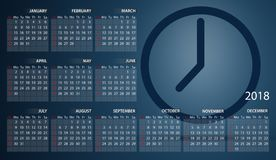 Calendar 2018 in English. Week starts on sunday. Clock. Timer. Calendar 2018 in English. Week starts on sunday. Clock. Time. Timer Stock Images