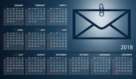 Calendar 2018 in English. Week starts on sunday. Envelope with a paperclip. Calendar 2018 in English. Week starts on sunday Stock Images