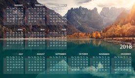 Calendar 2018 in English. Week starts on sunday. Italian panorama. Dolomites. Lake Landro. Calendar 2018 in English. Week starts on sunday. Italian panorama vector illustration