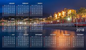 Calendar 2018 in English. Week starts on sunday. Portofino village. Santa Margherita Ligure by night in Italy vector illustration