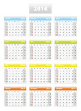 2014 english calendar. Weeks starting from sundays Stock Photography