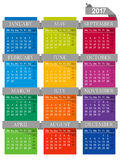 Calendar 2017. English calendar for year 2017, week starts on Monday Stock Photos