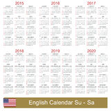 Calendar 2015-2020. English calendar for years 2015-2020, week starts on Sunday Stock Photography