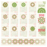2016 Calendar with ethnic round ornament pattern in red and green colors Stock Photography