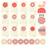 2016 Calendar with ethnic round ornament pattern in white red blue colors Stock Image