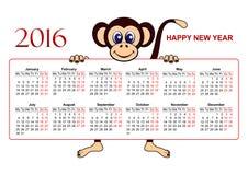 Calendar-2016-European Obrazy Stock