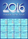 Calendar-2016-European Royalty Free Stock Images
