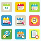 Calendar and event icons. Calendar flat icons set for design vector illustration Royalty Free Stock Image