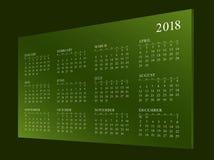 Calendar för året 2018 Fotografering för Bildbyråer