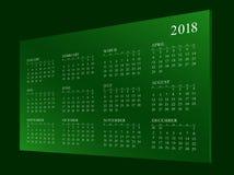 Calendar för året 2018 Royaltyfri Fotografi