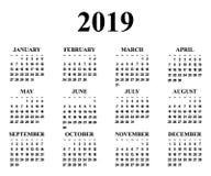 Calendar för året 2019 royaltyfri illustrationer