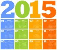 Calendar för året 2015 Arkivfoton
