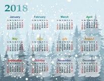 Calendar för året 2018 Arkivfoton