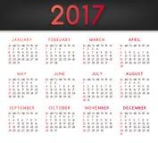 Calendar för året 2017 All månadJanuari-mars Arkivbild