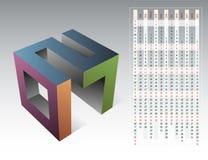 Calendar för året 2017 med emblemet 3D Fotografering för Bildbyråer