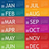 Calendar för året 2018 med färgkortuppsättning en Royaltyfri Foto