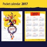 Calendar för året 2017 med konturhanen och jul vektor illustrationer
