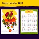 Calendar för året 2017 med konturhanen och jul stock illustrationer