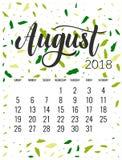 Calendar för Augusti 2018 Fotografering för Bildbyråer
