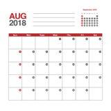 Calendar för Augusti 2018 Arkivfoto