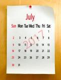 Calendar för den Juli 2017 närbilden Royaltyfria Foton