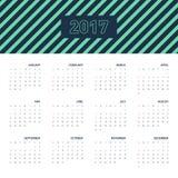 Calendar 2017 för ett år, lägenhetdesign Arkivbilder