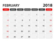 Calendar för Februari 2018 Stock Illustrationer