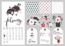 Calendar för februari 2016 med katten Fotografering för Bildbyråer