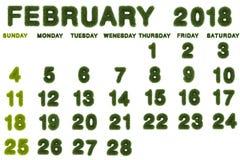 Calendar för Februari 2018 på vit bakgrund Arkivfoton