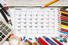 Calendar för Januari 2011 Arkivfoton
