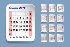 Calendar för Januari 2016 vektor illustrationer