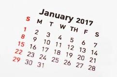 Calendar för Januari 2017 Royaltyfria Foton