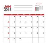 Calendar för Januari 2018 Royaltyfria Foton