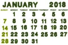 Calendar för Januari 2018 på vit bakgrund Arkivbilder
