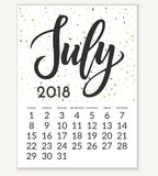 Calendar för Juli 2018 royaltyfri illustrationer