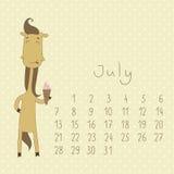 Calendar för juli 2014. Royaltyfria Bilder