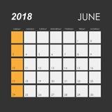 Calendar för Juli 2018 Royaltyfri Bild