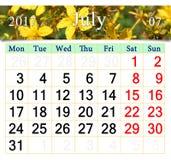 Calendar för Juli 2017 med blommor av St John & x27; s-wort Royaltyfria Foton
