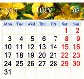 Calendar för Juli 2017 med blommor av wort för St John ` s Royaltyfria Foton