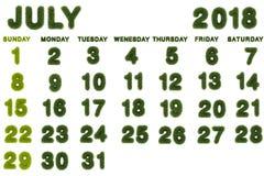 Calendar för Juli 2018 på vit bakgrund Royaltyfri Fotografi