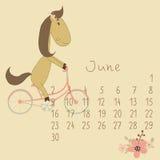 Calendar för Juni 2014. År av hästen. Fotografering för Bildbyråer