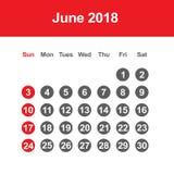 Calendar för Juni 2018 Royaltyfri Foto