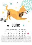 Calendar för Juni 2018 med skämtsamma Foxterrier Royaltyfri Bild