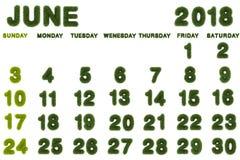 Calendar för Juni 2018 på vit bakgrund Arkivbilder