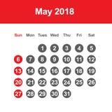 Calendar för Maj 2018 Royaltyfri Bild
