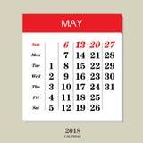 Calendar för Maj 2018 Arkivbild